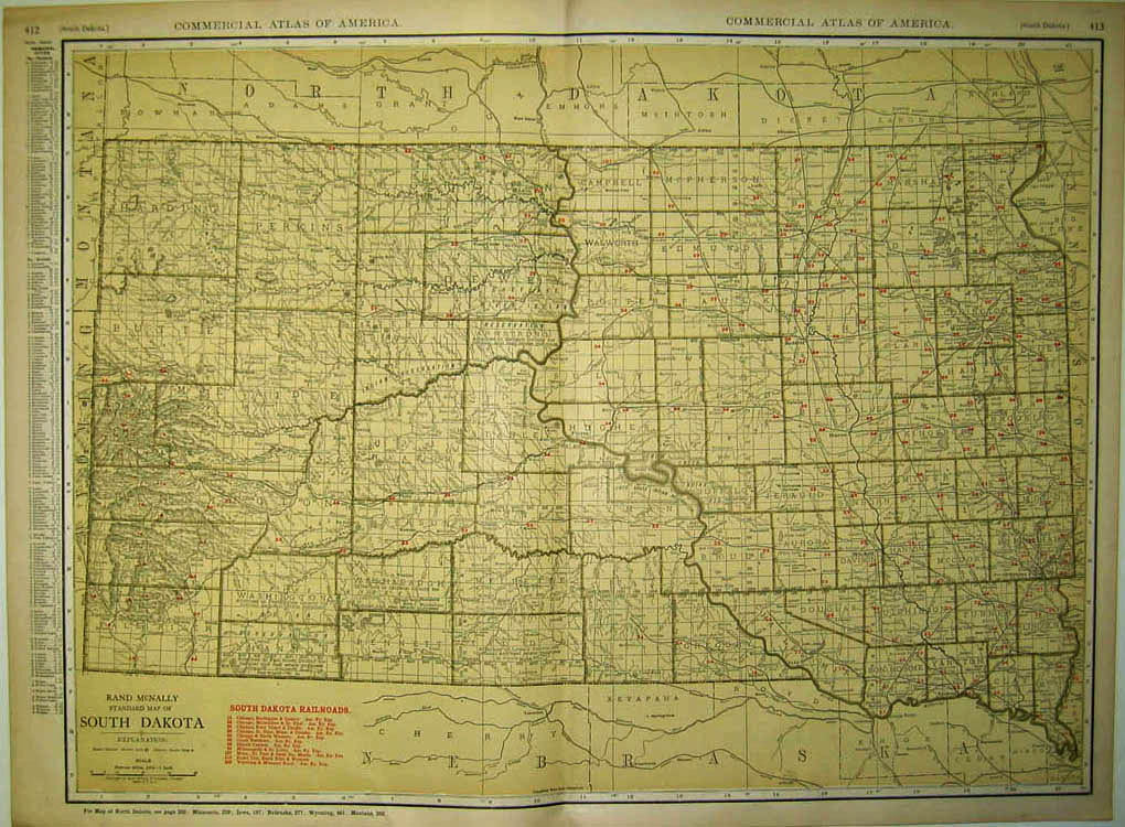 Prints Old Rare South Dakota Page - South dakota map with towns