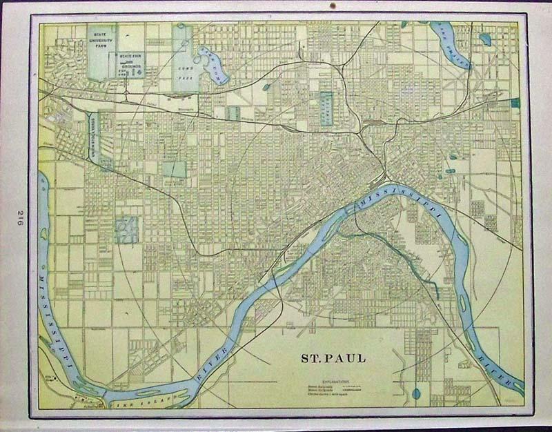 Prints Old Rare St Paul Minneapolis MN Antique Maps Prints