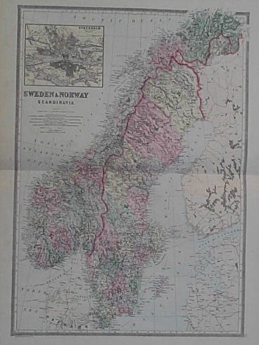 Prints Old Rare Sweden Page - Sweden map towns