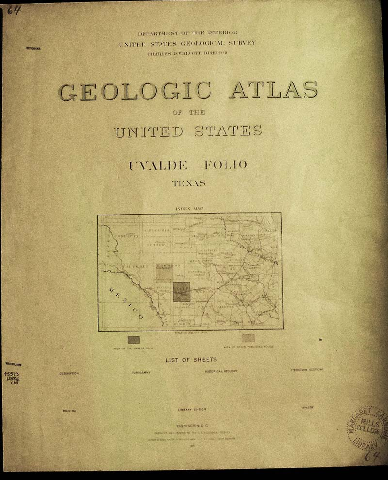 Geologic Map San Jose Quadrangle%0A Uvalde quadrangle folio  published by U S  Geological Survey     pages  including three large color Topographic Historical Geology Structural  Section maps