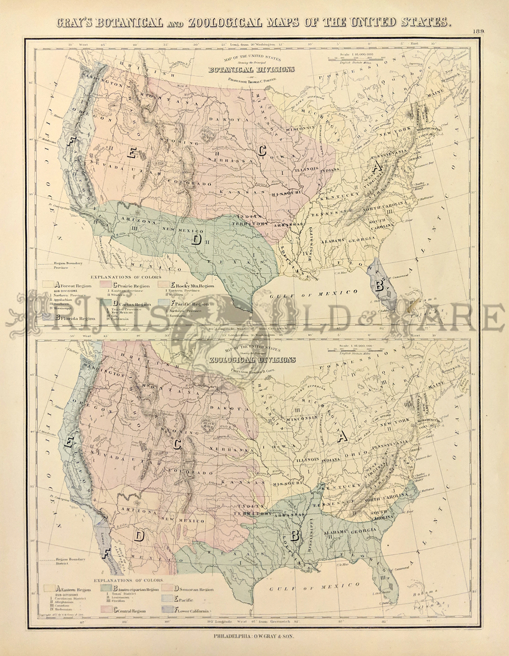1878 Botanical Zoological Maps Of The Usa These Two Maps Of The United States Were Published In Gray S Atlas Of 1876 The Top Map Is Titled Map Of The