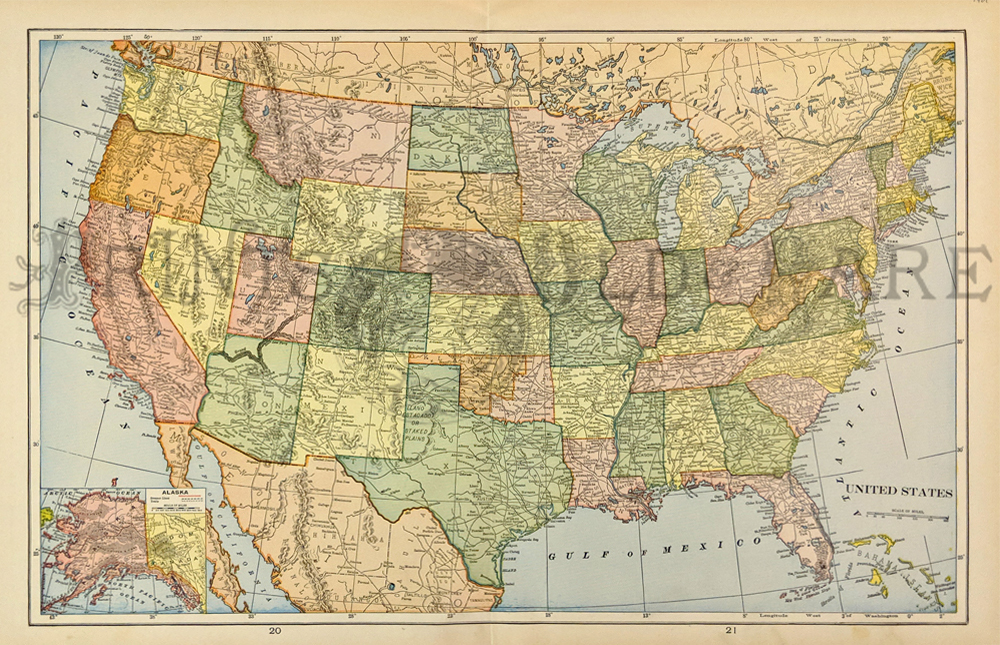 Prints Old Rare United States Of America Page - State maps of usa