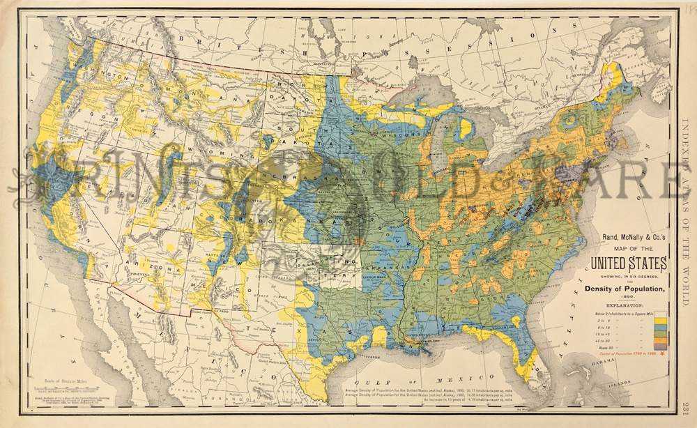 Prints Old Rare United States Of America Page - Us population density map 1790
