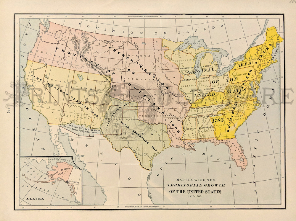 1888 united states territorial growth map printed in color inset of alaska 13 1 2x11 in 50