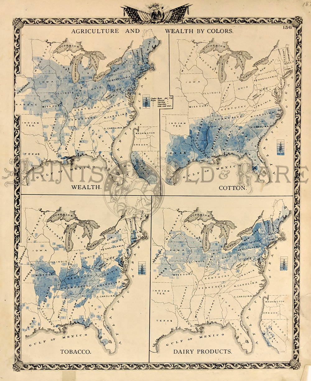 1876 wealth and agriculture u s map early eastern united states by colors four maps on one page shows concentrations of wealth and industries of