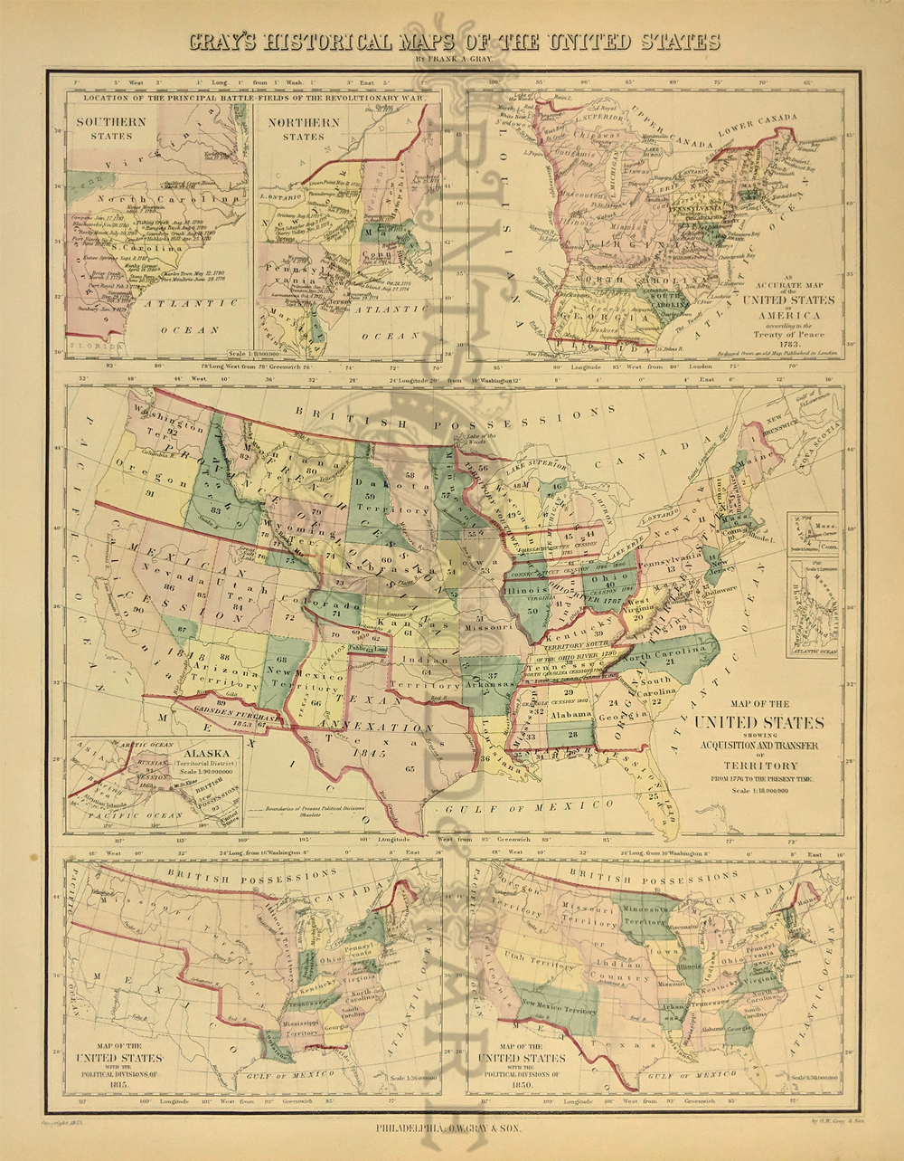 Prints Old Rare United States Of America Page - Us territories and possessions map