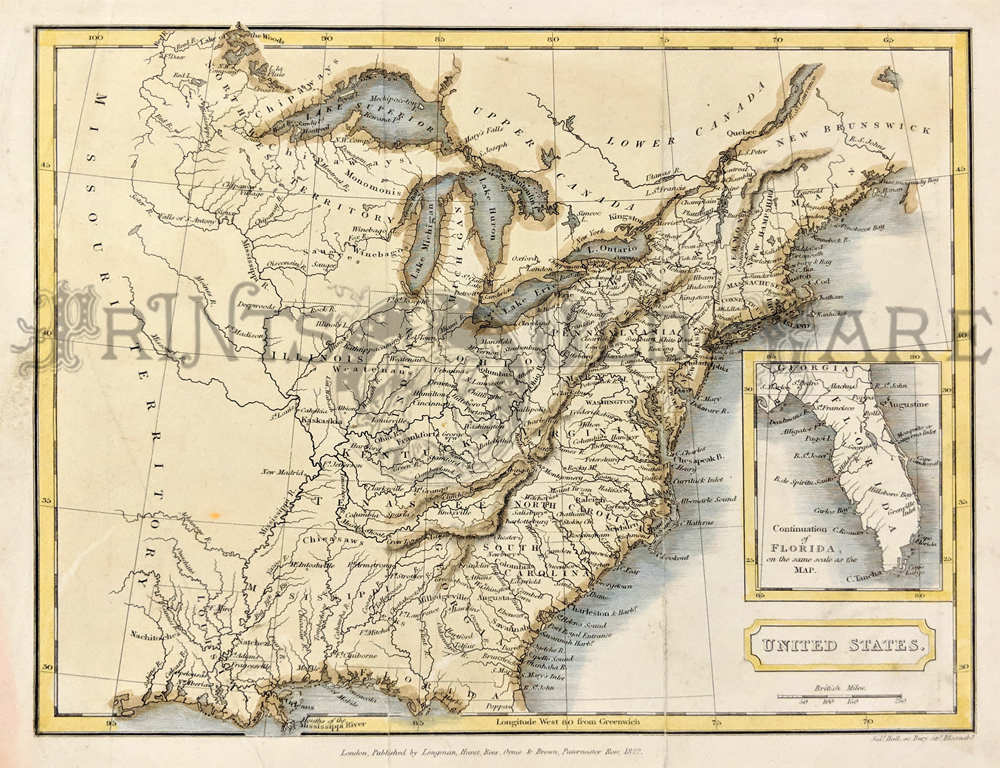1822 rare color map of early united states with inset bottom right of early florida published by longman hurst rees orme and brown paternoster row