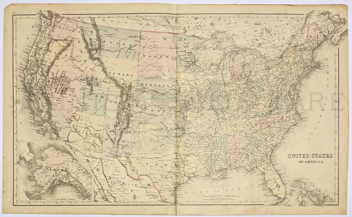 1875 Map Of The United States By Gray Interesting Map With Original Hand Coloring From O W Gray S World Atlas Of 1875 Each State Is Separately Colored