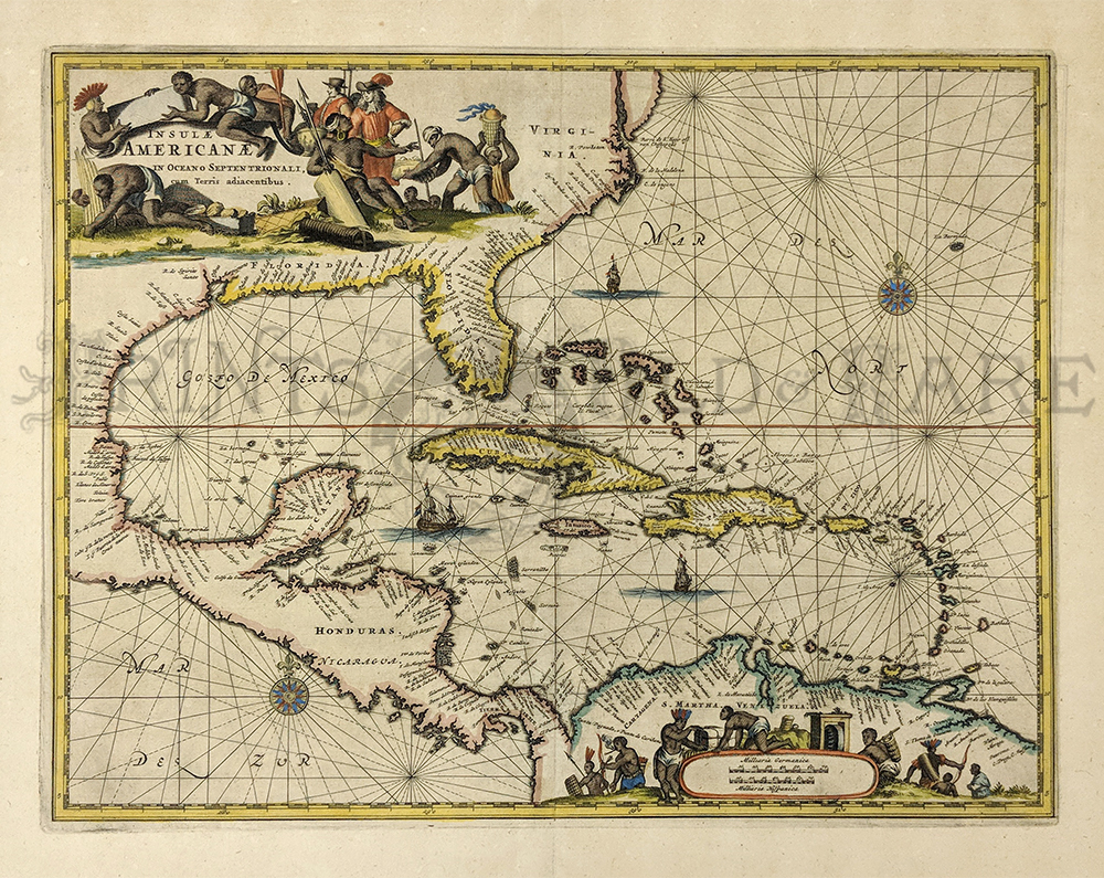 Beautiful Watercolor Copperplate Engraving On Handmade Paper This Beautiful Old Map Shows Virginia Florida Mexico Central America And The North