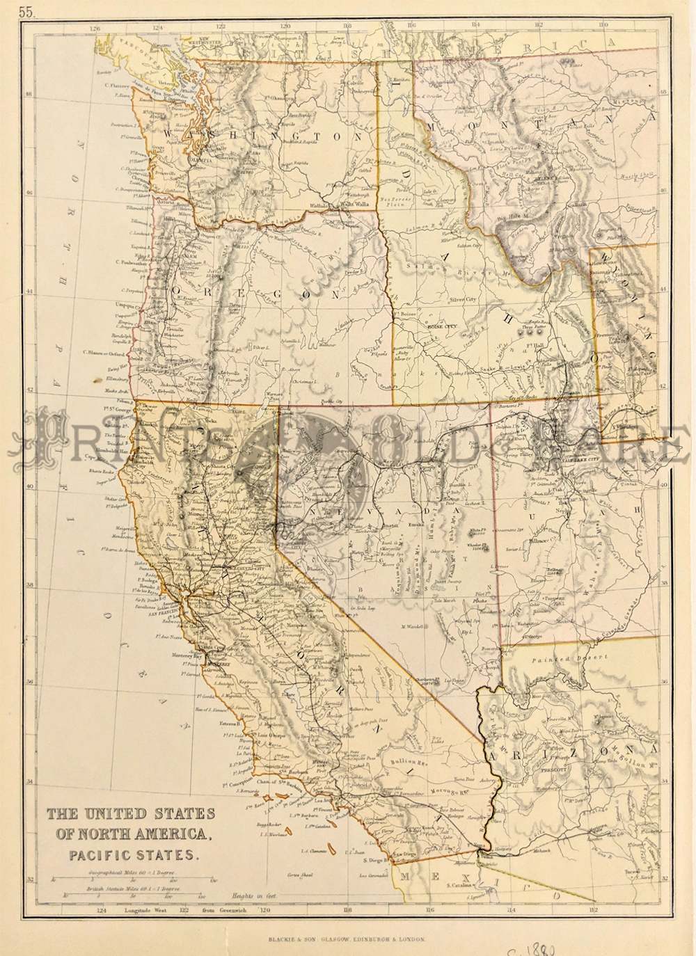 204us circa 1880 western state map the united states of north america pacific states this colored map shows montana utah and arizona west to the