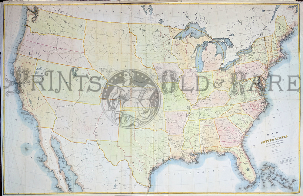 1850 hand colored lithograph map of united states and territories showing all the territories including nebraska and new mexico ackerman lithographers