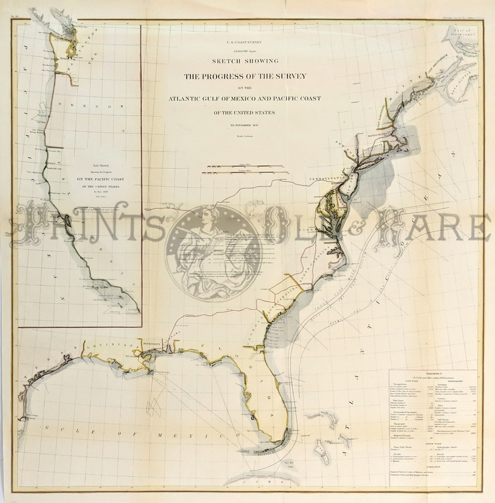 1859 hand colored lithographed early progress map of the united states coast survey with large inset on left showing a sub sketch showing the