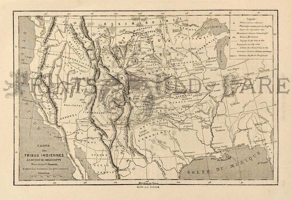1868 Black And White Copper Engraved Indian Tribe U S Map Titled Carte Des Tribus Indiennes Al Ouest Du Mississippi 12 X 8 In