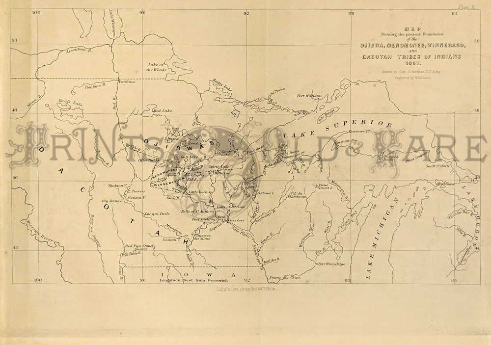 1851 Black And White Copper Engraved Indian Tribe Map Of Tyhe Mid United States Showing The Boundaries Of The Ojibwa Menomonee Winnebago