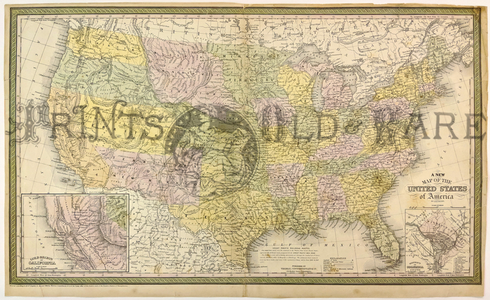 1850 cowperthwait color united states map which shows the gold regions of california on bottom left inset and an inset of washington d c on bottom right