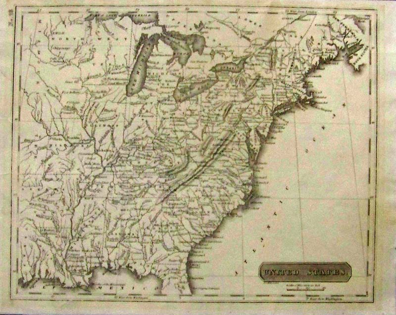 United States Melish 1818 1821 A Small And Unusual Engraved Map Of The Eastern U S By John Melish Uncolored Extends From The Missouri And Then
