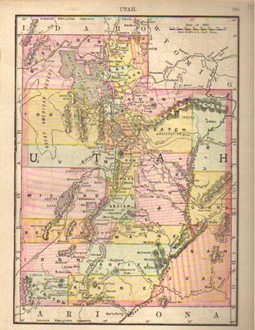 Prints Old Rare Utah Page - State of utah map
