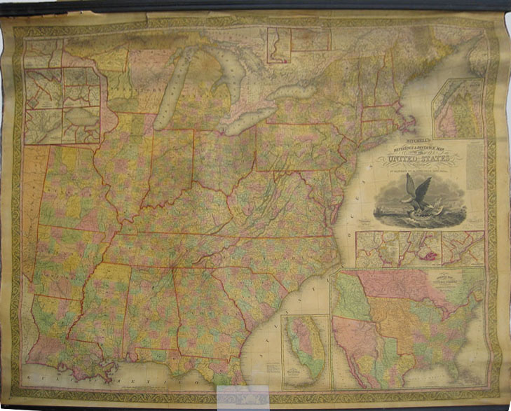 rdm 24 mitchell s reference distance map of the united states by j h young 1836 published by augustus mitchell inset whole us showing western