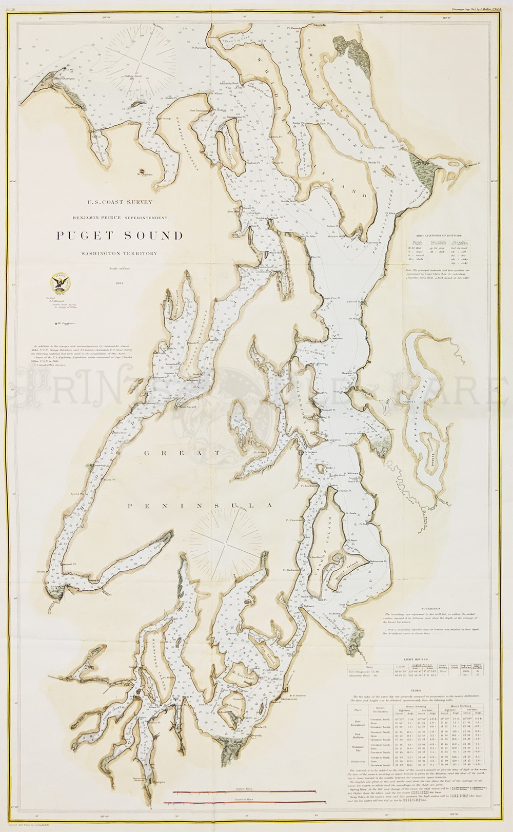 Prints old rare washington antique maps prints showing light houses water depths from pt demock down to olympia and tide chart for various nvjuhfo Images