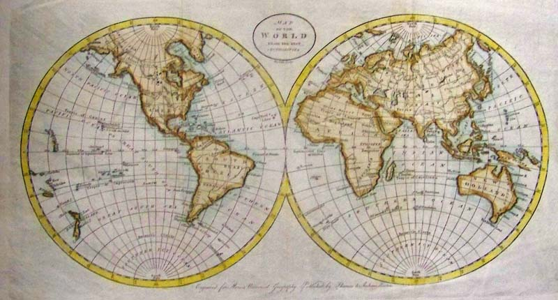 Prints old rare world maps antique maps prints map of the world from the best authorities doolittle 1796 an attractive engraved and hand colored double hemisphere map of the world published for gumiabroncs Gallery
