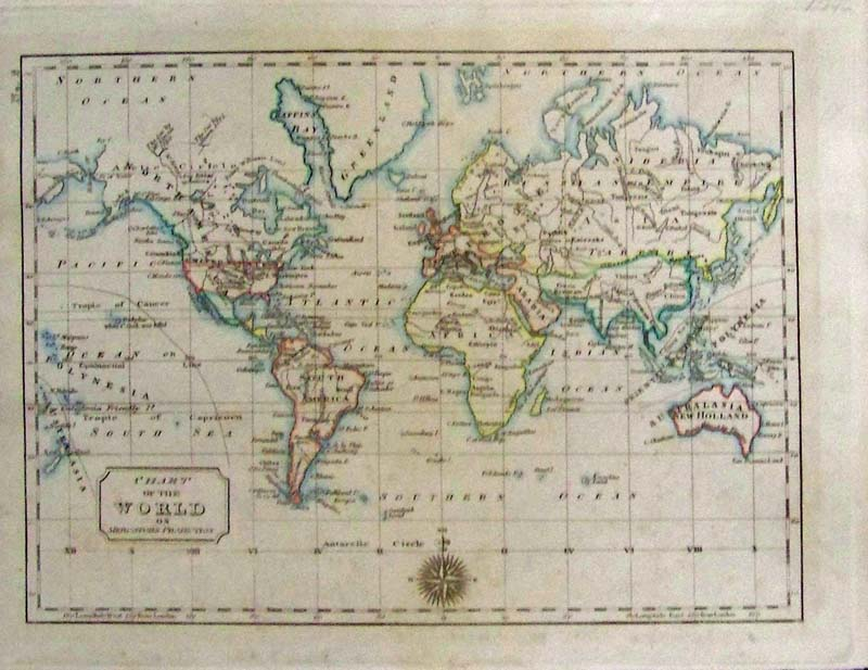 Prints old rare world maps antique maps prints chart of the world on mercators projection thomas and andrews 1796 a nice engraved and hand colored small map of the world showing louisiana new gumiabroncs Gallery