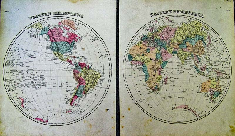 hemisphere world maps original hand color some foxing in bottom margins each 14 12x17 12 in