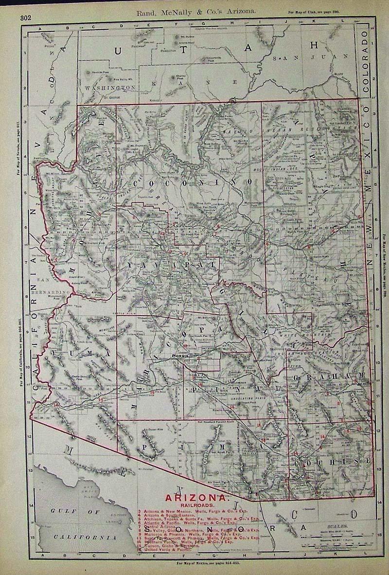 Map Of Arizona Railroads.Prints Old Rare Arizona Antique Maps Prints