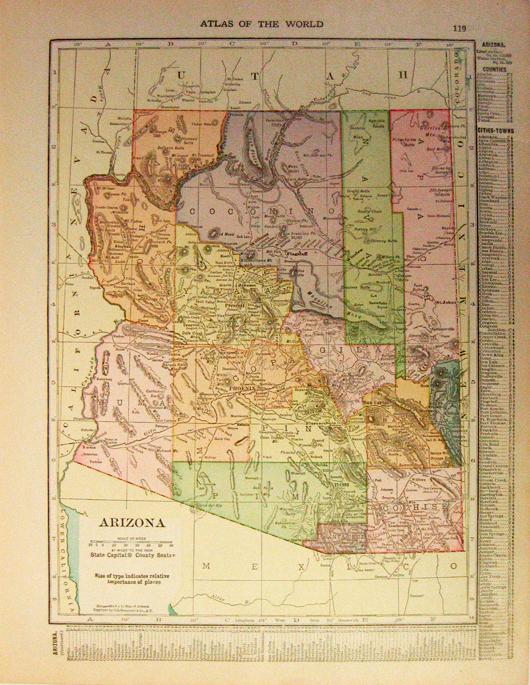 Geographical Map Of Arizona.Prints Old Rare Arizona Antique Maps Prints