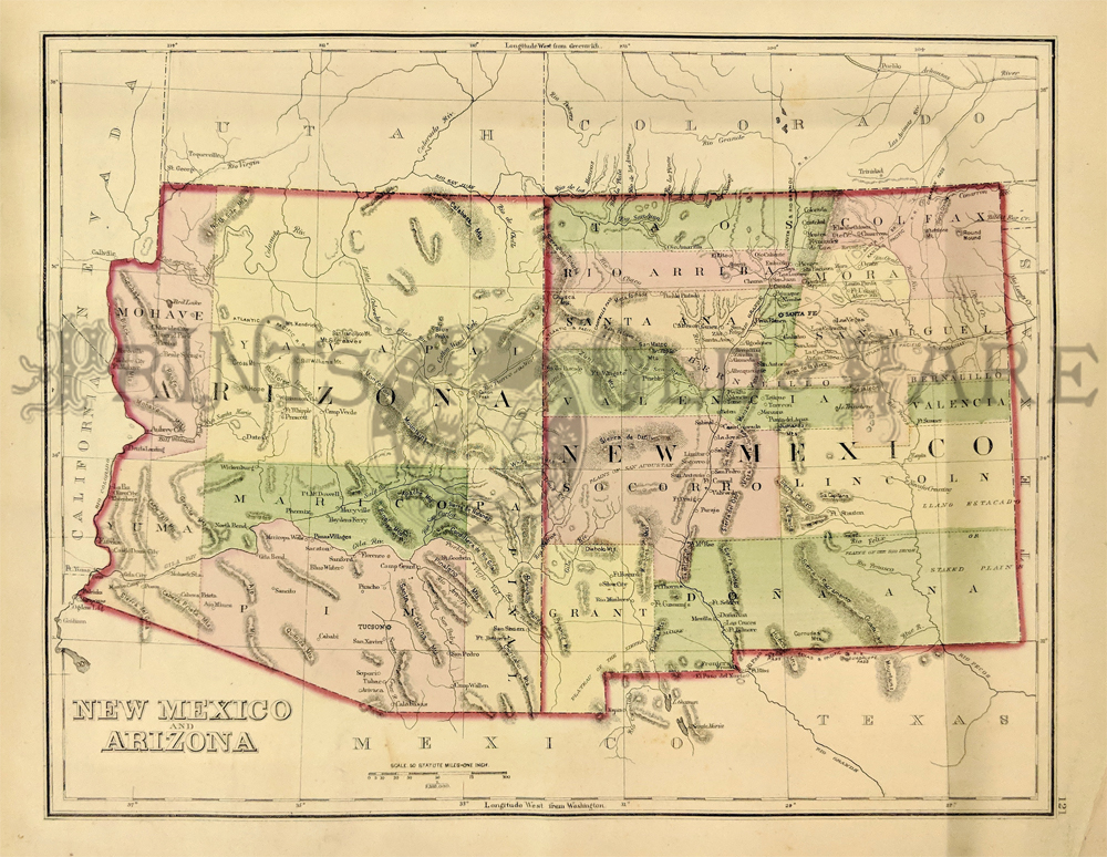 Prints Old & Rare - Arizona - Antique Maps & Prints
