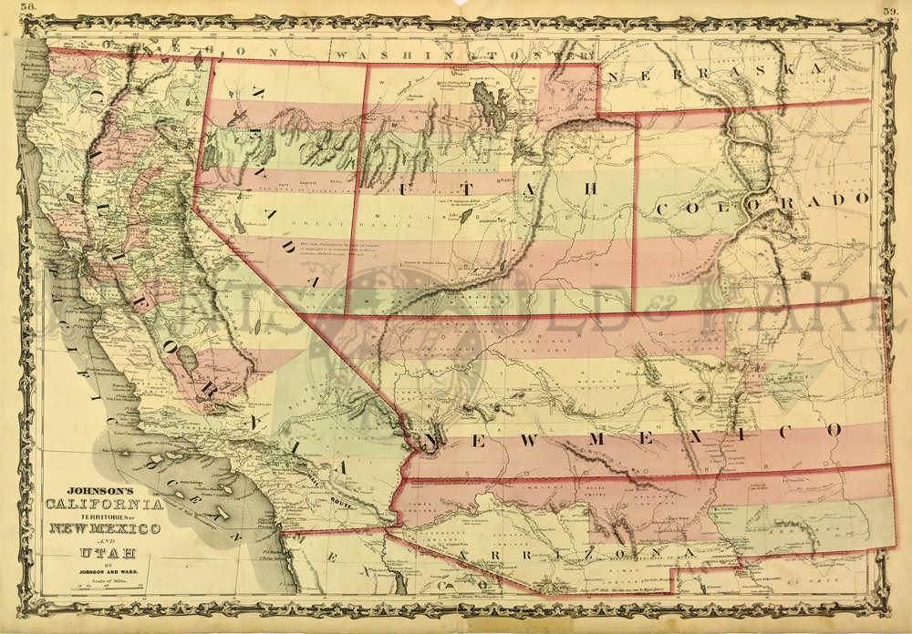 Map Of Arizona Utah Border.Prints Old Rare Arizona Antique Maps Prints