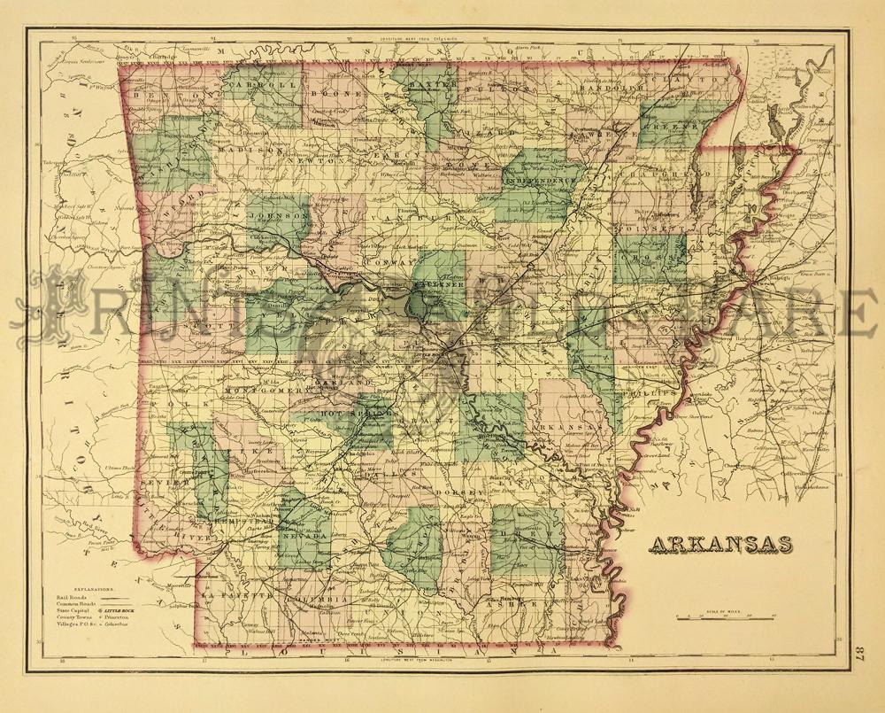 Prints Old & Rare - Arkansas - Antique Maps & Prints on map of arizona, map of mo, map of arga, map of arkansas, map of ca, map of ok, map of gh, map of vb, map of il, map of la, map of gl, map of re, map of va, map of le, map of lp, map of ic, map of ms, map of tx, map of usa, map of ak,
