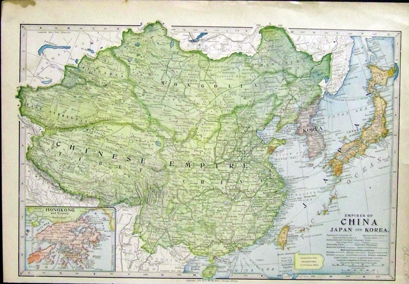 Prints old rare asia antique maps prints 1899 color map of the empires of china japan and korea with an inset on bottom left corner of hong kong and vicinity copyright in 1899 by j martin gumiabroncs Images