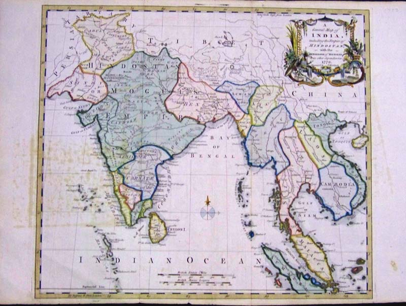 Prints old rare asia antique maps prints 1773 hand colored copper engraved map titled a general map of india including the empire of hindostan with the kingdom of bengal and its other freerunsca Image collections