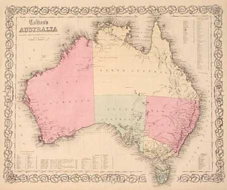 1855 colton map of australia beautiful map of the australian continent with original hand coloring cities towns and geographical features along the
