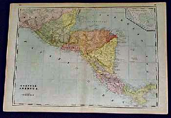 Prints old rare central america antique maps prints large colorful map of central america from an 1891 world atlas panama is labeled as veragua belize is called british honduras and the shape of gumiabroncs Gallery