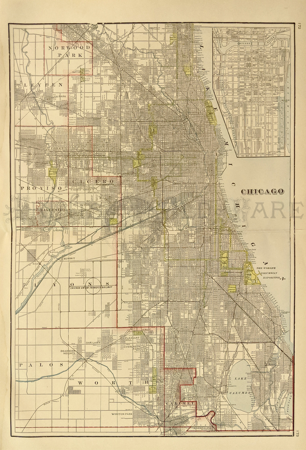 Prints Old Rare Chicago Illinois Antique Maps Prints