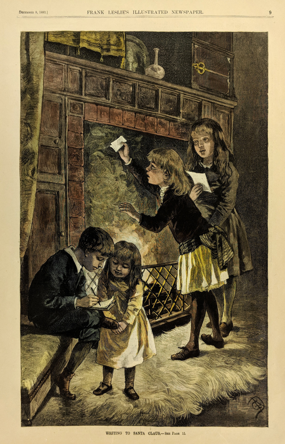 1883 Hand Colored Wood Engraving Titled Writing To Santa Claus Featured In Frank Leslies Illustrated Newspaper 16 X 10 1 2