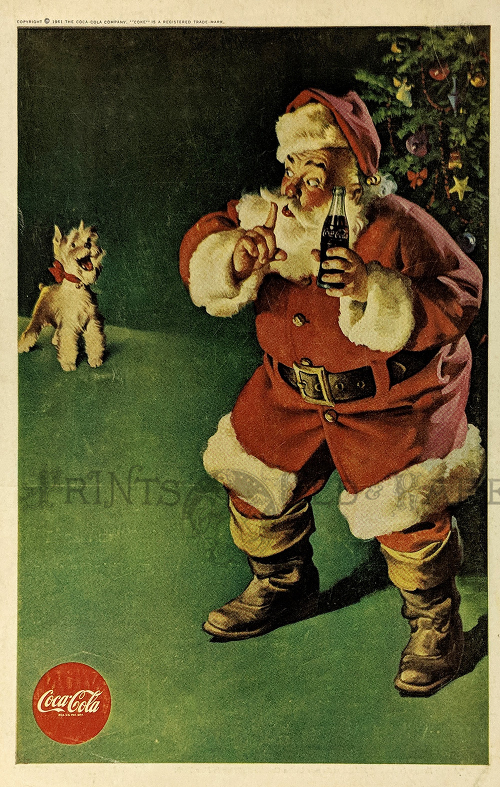 1961 Coca Cola Advertisement Featuring Santa Claus Whispering To A Barking Dog As Holds Bottle Of In His Hand