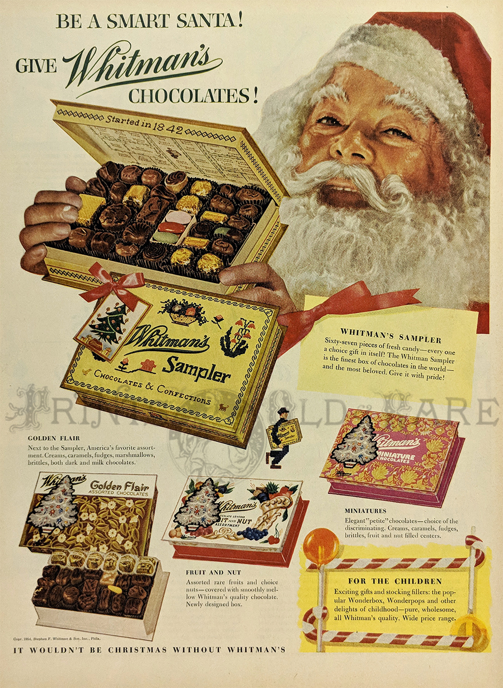 1954 Color Whitmans Chocolates Advertisement Featuring Santa Claus Holding An Open Box Of A Delicious Whitman Sampler Other Chocolate Varieties Are Shown
