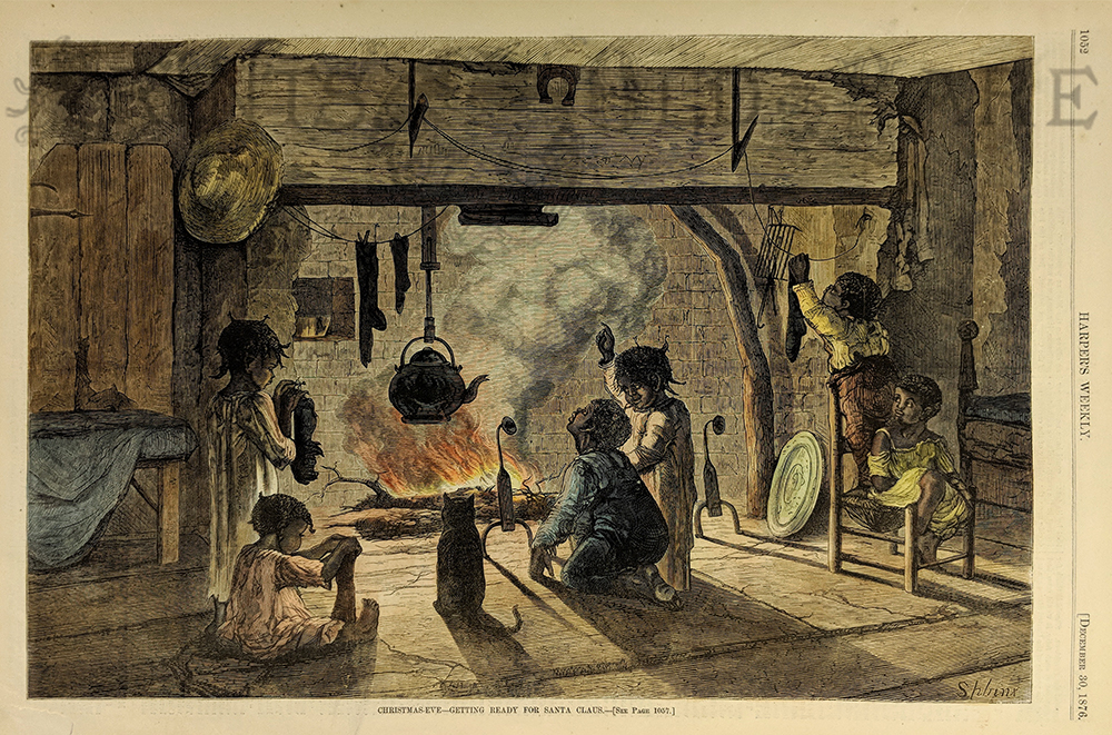 1876 Christmas Eve Hand Colored Wood Engraving Featured In Harpers Weekly Titled Getting Ready For Santa Claus
