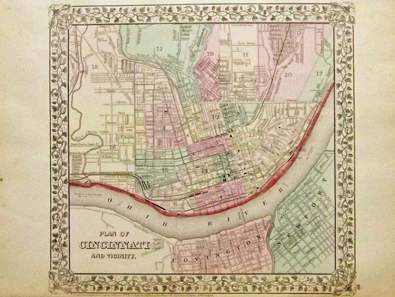 Antique Ohio Map.Prints Old Rare Cincinnati Ohio Antique Maps Prints
