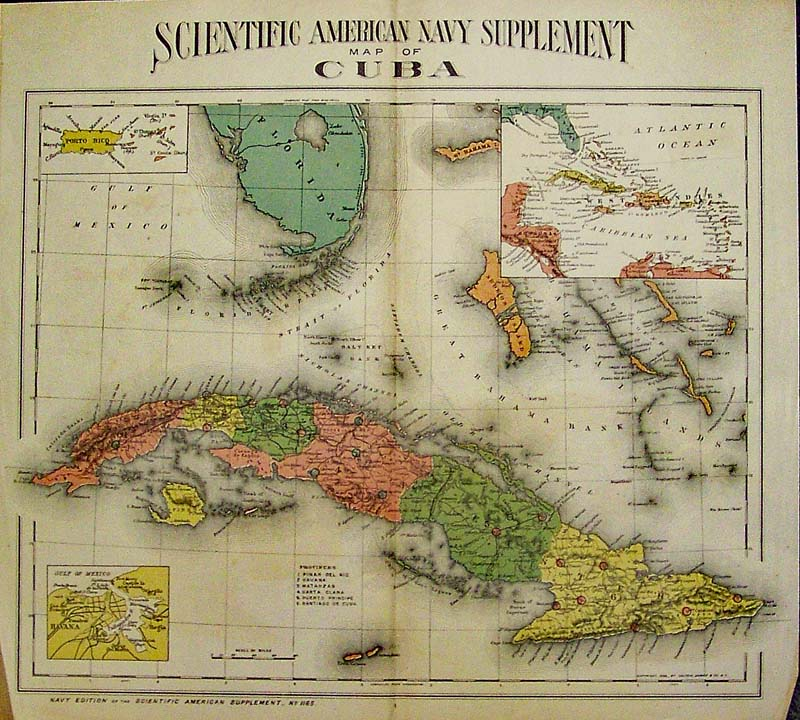 Prints old rare cuba antique maps prints cuba map by colton 1898 color map shows tip of florida and the keys map published by scientific american navy supplement during the spanish american war gumiabroncs Choice Image