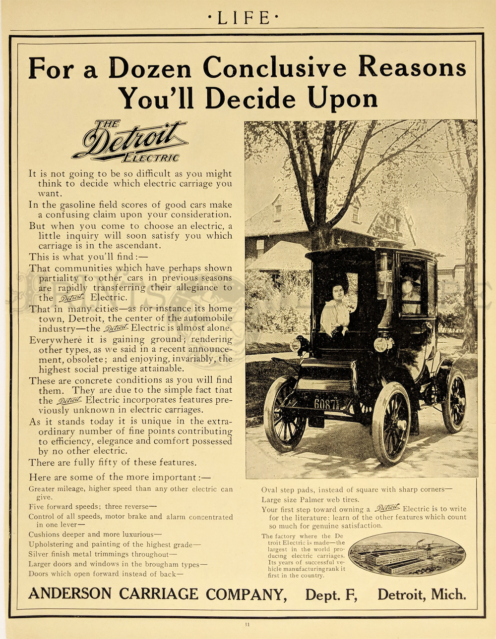 This Scarce Black White Ad From Early Life A Picture Of The Electric Battery Driven Car And Anderson Carriage Company Detroit 8 1 2x11 In