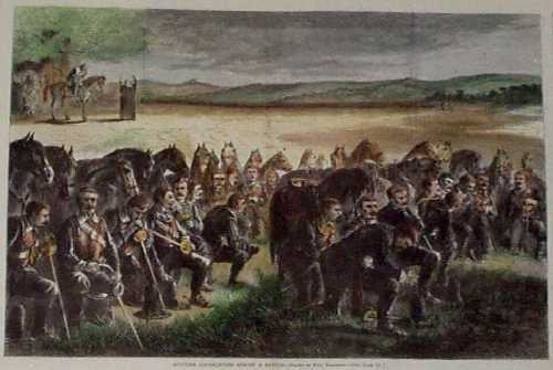 Richly Colored Wood Engraving Shows A Group Of Scottish Covenanters In Prayer Before Battle Historical Print With Text Describing The Plight