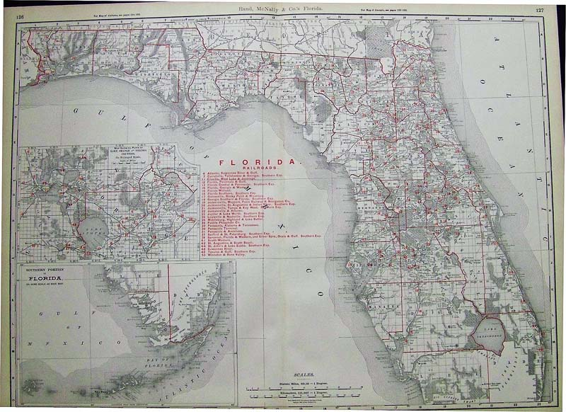 Florida Railroad Map.Prints Old Rare Florida Antique Maps Prints
