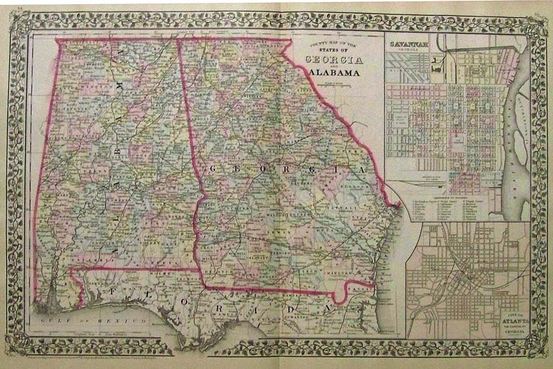 Prints old rare georgia antique maps prints 1879 mitchells original hand colored county map of the states of georgia and alabama with insets on right of savannah georgia and the city of atlanta gumiabroncs Gallery
