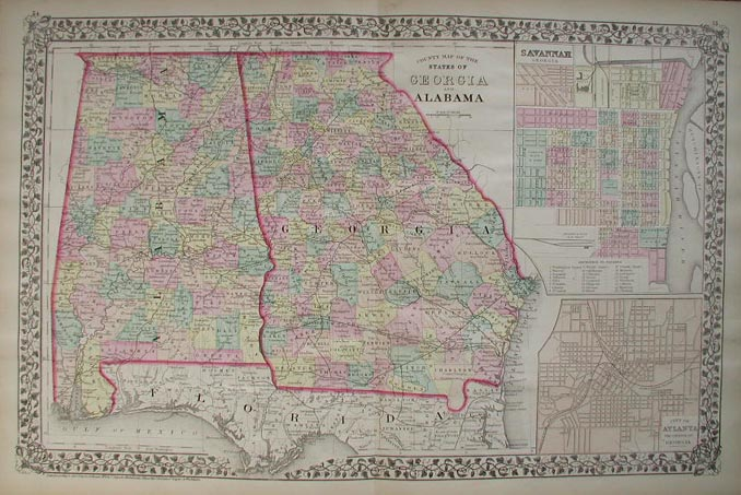 Prints old rare georgia antique maps prints beautiful hand colored county map of the states of georgia and alabama published in 1876 by mitchell two insets on the right side show the cities of gumiabroncs Images