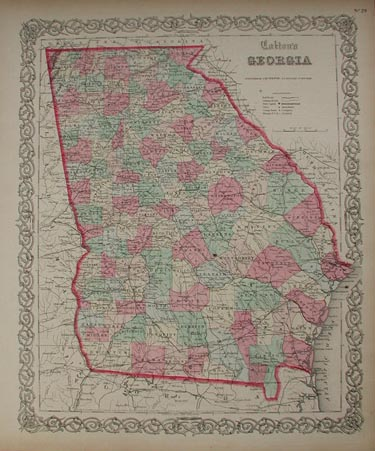Prints old rare georgia antique maps prints beautiful hand colored map of georgia published in 1855 by j h colton nice decorative border surrounding map each county is colored separately gumiabroncs Gallery