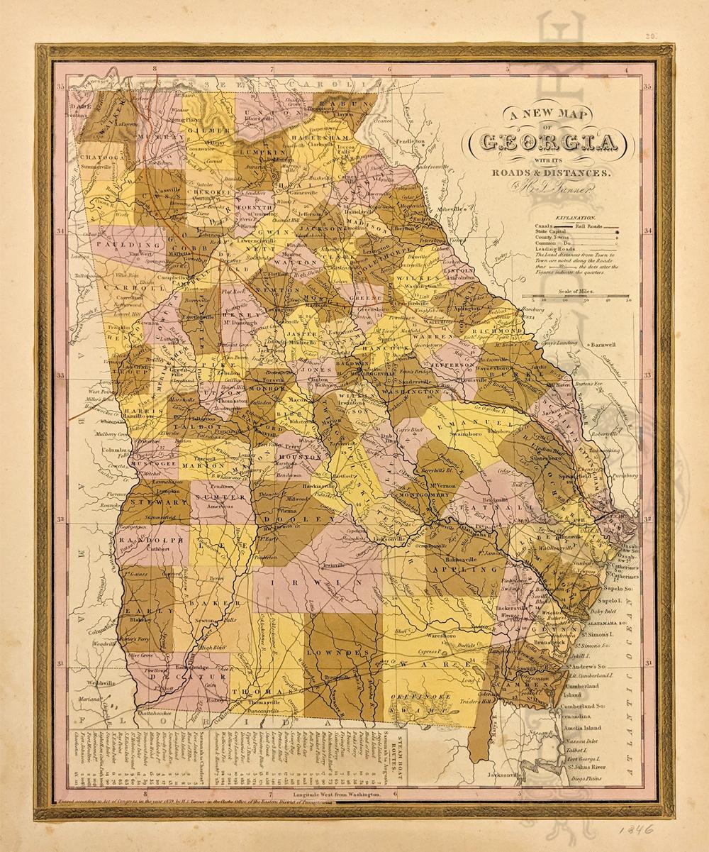 Map Of Georgia Towns.Prints Old Rare Georgia Antique Maps Prints