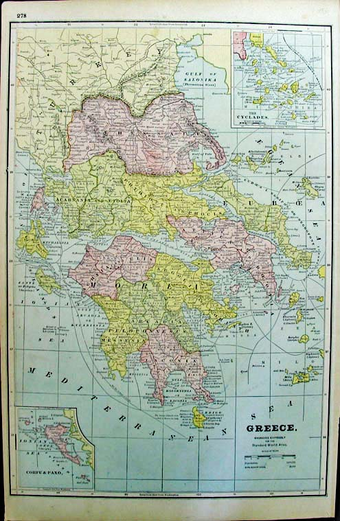 Prints old rare greece antique maps prints 1887 greece for the standard world atlas 1125x1725 in 40 gumiabroncs Gallery